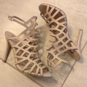 JustFab caged beige heels Schutz style 7